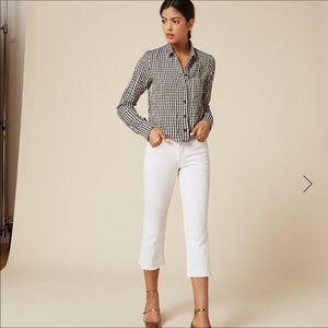 NWT Reformation linen plaid button down shirt RARE